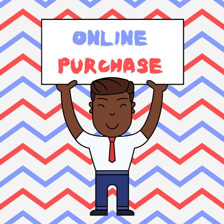 Text sign showing Online Purchase. Business photo text Purchases electronic commerce goods from over the Internet Smiling Man Standing Holding Big Empty Placard Overhead with Both Hands Reklamní fotografie
