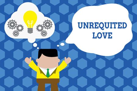 Text sign showing Unrequited Love. Business photo showcasing not openly reciprocated or understood as such by beloved Standing man suit hands up imaginary bubble light bulb gears working together Imagens