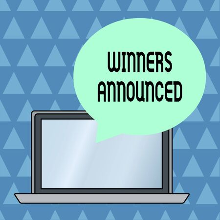 Text sign showing Winners Announced. Business photo showcasing Announcing who won the contest or any competition Round Shape Empty Speech Bubble Floating Over Open Laptop Colored Backdrop