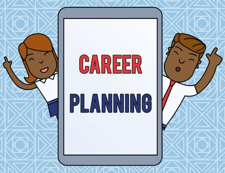 Word writing text Career Planning. Business photo showcasing Strategically plan your career goals and work success Male and Female Index Fingers Up Touch Screen Tablet Smartphone Device