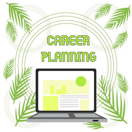 Handwriting text Career Planning. Conceptual photo Strategically plan your career goals and work success Open Modern Laptop Switched On with Website Homepage on Screen Web Search Banco de Imagens