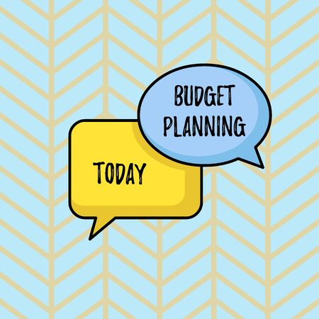 Writing note showing Budget Planning. Business concept for The written description about current and future expenses Pair of Overlapping Blank Speech Bubbles of Oval and Rectangular Shape Reklamní fotografie