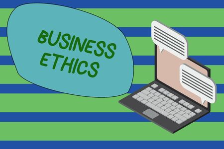 Writing note showing Business Ethics. Business concept for Moral principles that guide the way a business behaves Laptop receiving sending information internet wireless