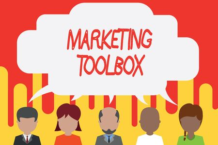 Handwriting text Marketing Toolbox. Conceptual photo Means in promoting a product or services Automation Five different races persons sharing blank speech bubble. People talking