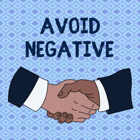 Handwriting text Avoid Negative. Conceptual photo Staying away from pessimistic showing Suspicious Depression Hand Shake Multiracial Male Business Partners Colleagues Formal Shirt Suit Banco de Imagens