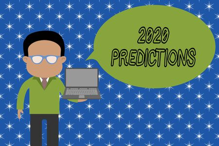 Text sign showing 2020 Predictions. Business photo showcasing list of things you feel that going to happen without proof Standing man in suit wearing eyeglasses holding open laptop photo Art Banco de Imagens