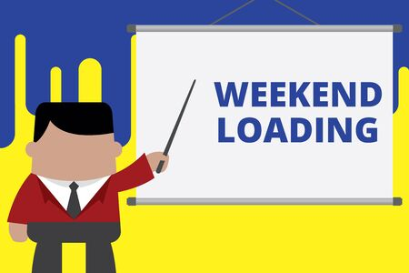 Handwriting text writing Weekend Loading. Conceptual photo Starting Friday party relax happy time resting Vacations Businessman standing in front projector screen pointing project idea Stock Photo