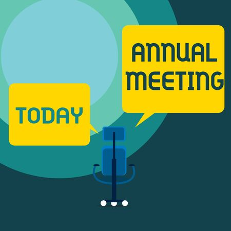 Conceptual hand writing showing Annual Meeting. Concept meaning Yearly gathering of an organization interested shareholders Executive chair sharing two blank square speech bubbles side Stock Photo - 124990798