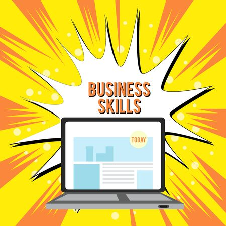 Text sign showing Business Skills. Business photo text An ability to acquire systematic effort of job functions Open Modern Laptop Switched On with Website Homepage on Screen Web Search