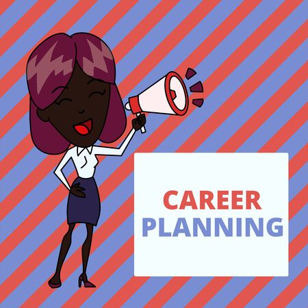 Writing note showing Career Planning. Business concept for A list of goals and the actions you can take to achieve them Young Woman Speaking in Blowhorn Colored Backgdrop Text Box Imagens