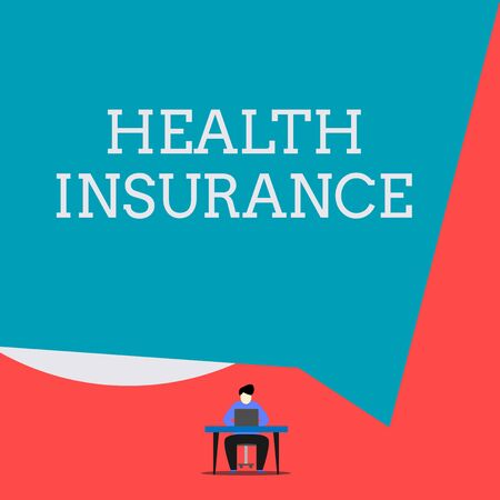 Writing note showing Health Insurance. Business concept for coveragethat pays for medicaland surgical expenses Man sitting chair desk working laptop geometric background