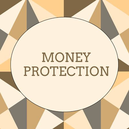 Handwriting text writing Money Protection. Conceptual photo protects the rental money tenant pays to landlord Obtuse Triangle Shape in Earth Tone Forming Mosaic and Stained Glass Pattern