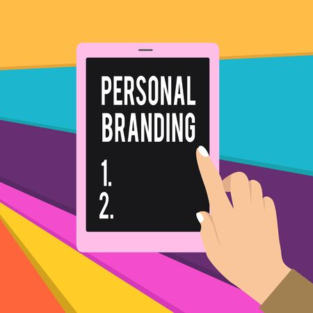 Word writing text Personal Branding. Business photo showcasing Practice of People Marketing themselves Image as Brands Female Hand with White Polished Nails Pointing Finger Tablet Screen Off
