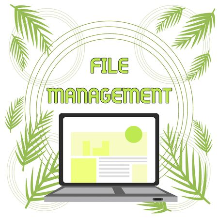 Handwriting text File Management. Conceptual photo computer program that provides user interface to analysisage data Open Modern Laptop Switched On with Website Homepage on Screen Web Search