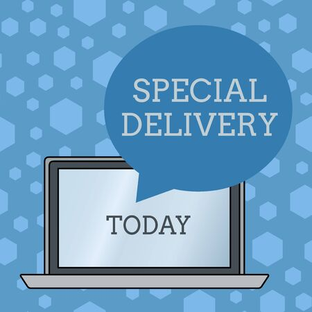 Word writing text Special Delivery. Business photo showcasing getting products or service directly to your home any place Round Shape Empty Speech Bubble Floating Over Open Laptop Colored Backdrop Reklamní fotografie