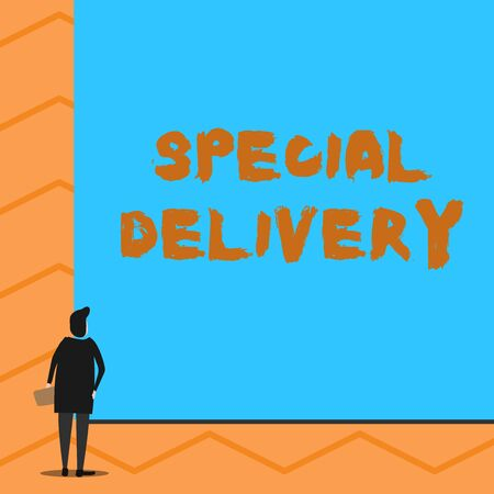 Text sign showing Special Delivery. Business photo text getting products or service directly to your home any place Man stands in back view in front of huge empty blank big rectangle board Reklamní fotografie