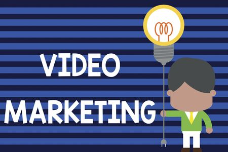 Writing note showing Video Marketing. Business concept for create short videos about specific topics using articles Standing man tie holding plug socket light bulb Idea Startup Stok Fotoğraf