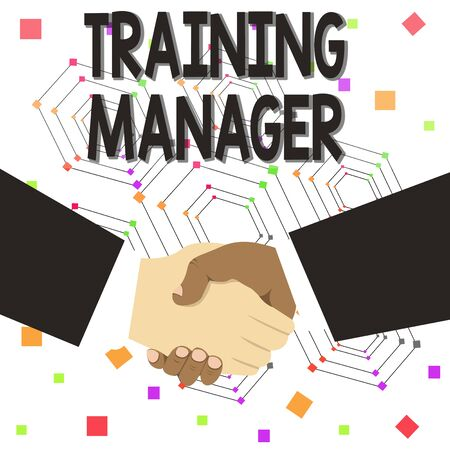 Text sign showing Training Manager. Business photo text giving needed skills for high positions improvement Hand Shake Multiracial Male Business Partners Colleagues Formal Black Suits
