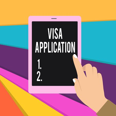 Word writing text Visa Application. Business photo showcasing Form to ask permission travel or live in another country Female Hand with White Polished Nails Pointing Finger Tablet Screen Off 스톡 콘텐츠