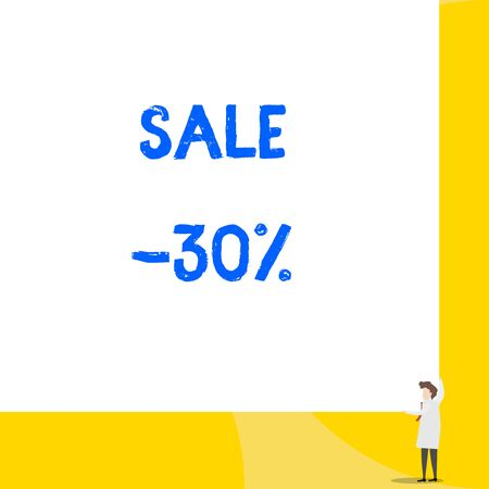 Writing note showing Sale 30 Percent. Business concept for A promo price of an item at 30 percent markdown Young woman holding two hands right corner big rectangle
