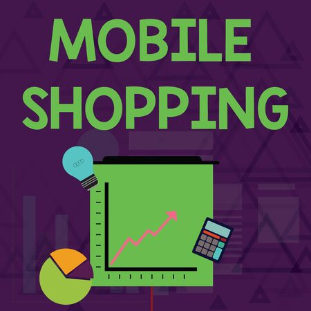 Writing note showing Mobile Shopping. Business concept for Buying and selling of goods and services through mobile Investment Icons of Pie and Line Chart with Arrow Going Up Reklamní fotografie
