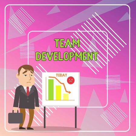 Word writing text Team Development. Business photo showcasing learn why and how small groups change over time with graphs Businessman Clerk with Brief Case Standing Whiteboard Declining Bar Chart