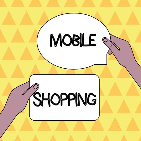 Handwriting text Mobile Shopping. Conceptual photo Buying and selling of goods and services through mobile Two Blank Figured Tablets Signs Held in Hands One Above Other Text Space