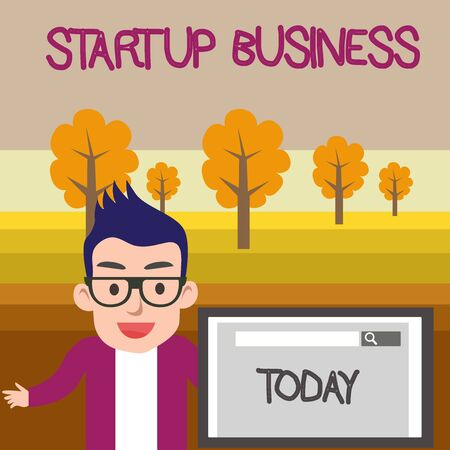 Text sign showing Startup Business. Business photo text Engaging to a New Venture Fresh Trading and Selling Male Speaker Monitor with Search Tool on Screen Presentation or Report