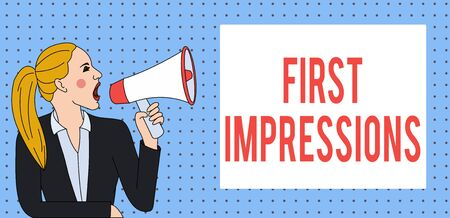 Word writing text First Impressions. Business photo showcasing What a demonstrating thinks of you when they first meet you Young Woman Jacket Ponytail Shouting into Loudhailer Rectangular Text Box 写真素材