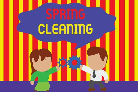 Writing note showing Spring Cleaning. Business concept for practice of thoroughly cleaning house in the springtime Young couple sharing gear Man tie woman skirt relation