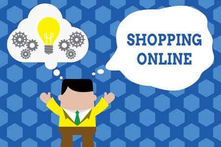 Text sign showing Shopping Online. Business photo showcasing buying you want through internet website then deliver it Standing man suit hands up imaginary bubble light bulb gears working together