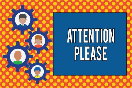 Text sign showing Attention Please. Business photo showcasing Asking showing to focus their mental powers on you Gearshaped picture frame family ornament mother father daughter son photo Banco de Imagens