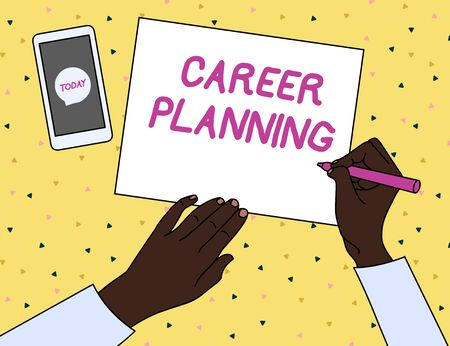 Word writing text Career Planning. Business photo showcasing A list of goals and the actions you can take to achieve them Top View Man Writing Blank Paper Pen Pencil Marker Smartphone Message Icon