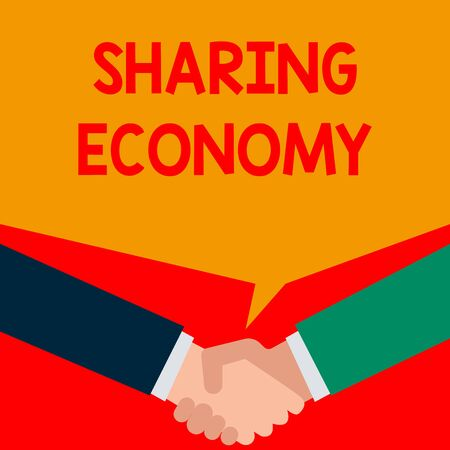 Word writing text Sharing Economy. Business photo showcasing economic model based on providing access to goods Two persons have bubbly conversation while greet each other and shake hands Stock Photo
