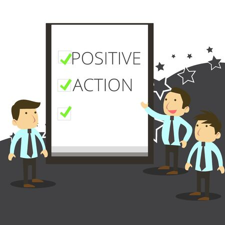 Handwriting text writing Positive Action. Conceptual photo doing good attitude against certain situation Fine reaction Business People Colleagues Discuss Missions Presentation Whiteboard Ticks