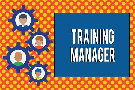 Text sign showing Training Manager. Business photo showcasing giving needed skills for high positions improvement Gearshaped picture frame family ornament mother father daughter son photo