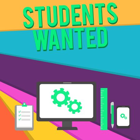 Word writing text Students Wanted. Business photo showcasing list of things wishes or dreams young showing in school want Business Concept PC Monitor Mobile Device Clipboard Ruler Ballpoint Pen Banco de Imagens
