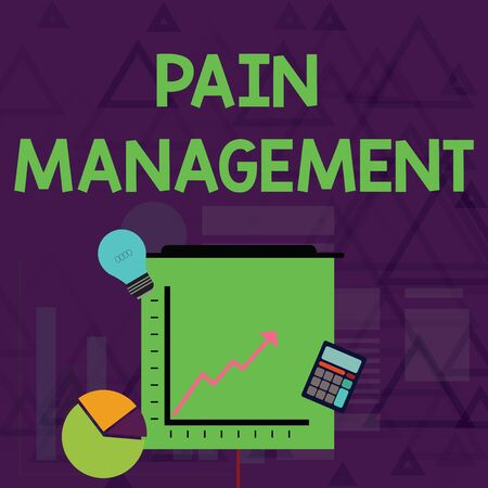 Writing note showing Pain Management. Business concept for a branch of medicine employing an interdisciplinary approach Investment Icons of Pie and Line Chart with Arrow Going Up