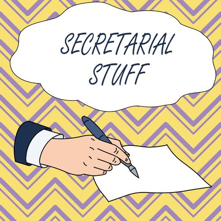 Conceptual hand writing showing Secretarial Stuff. Concept meaning Secretary belongings Things owned by demonstratingal assistant Male Hand Formal Suit Holding Ballpoint Pen Piece of Paper Writing