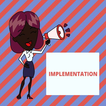 Writing note showing Implementation. Business concept for The process of making something active or effective Young Woman Speaking in Blowhorn Colored Backgdrop Text Box