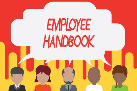 Handwriting text Employee Handbook. Conceptual photo Document that contains an operating procedures of company Five different races persons sharing blank speech bubble. People talking Stock Photo
