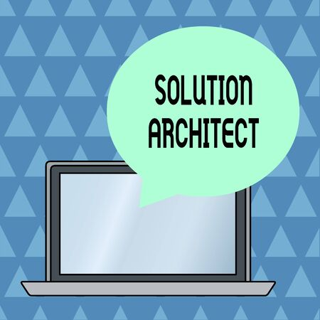 Text sign showing Solution Architect. Business photo showcasing Design applications or services within an organization Round Shape Empty Speech Bubble Floating Over Open Laptop Colored Backdrop