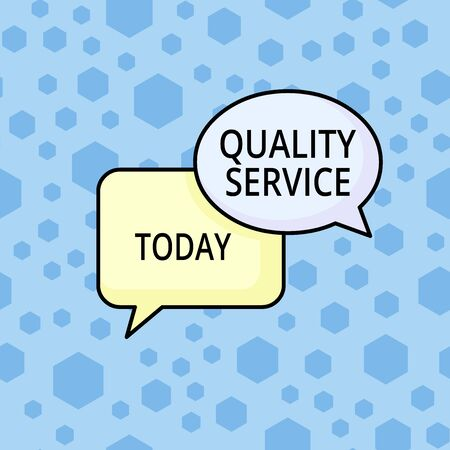 Word writing text Quality Service. Business photo showcasing how well delivered service conforms to clientexpectations Pair of Overlapping Blank Speech Bubbles of Oval and Rectangular Shape