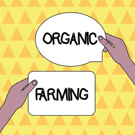 Handwriting text Organic Farming. Conceptual photo an integrated farming system that strives for sustainability Two Blank Figured Tablets Signs Held in Hands One Above Other Text Space