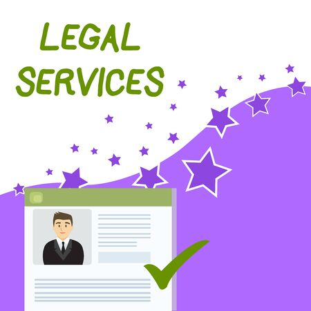 Text sign showing Legal Services. Business photo showcasing Providing access to justice Fair trial Law equality Curriculum Vitae Resume of Young Male Candidate Marked by Colored Checkmark Banco de Imagens
