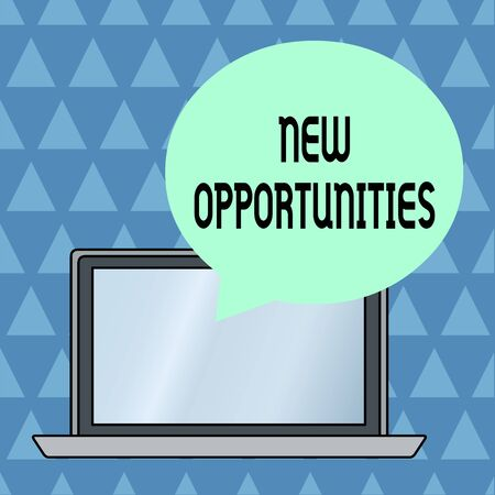 Text sign showing New Opportunities. Business photo showcasing A situation that makes it possible to do something Round Shape Empty Speech Bubble Floating Over Open Laptop Colored Backdrop Banco de Imagens
