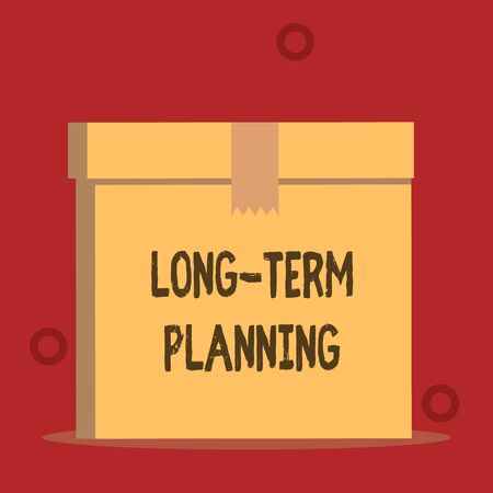 Word writing text Long Term Planning. Business photo showcasing Establish Expected Goals five or more years ahead Close up front view open brown cardboard sealed box lid. Blank background