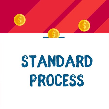 Writing note showing Standard Process. Business concept for rules made to be matched with final product quality Front view three penny coins icon one entering collecting box slot 스톡 콘텐츠 - 124990907
