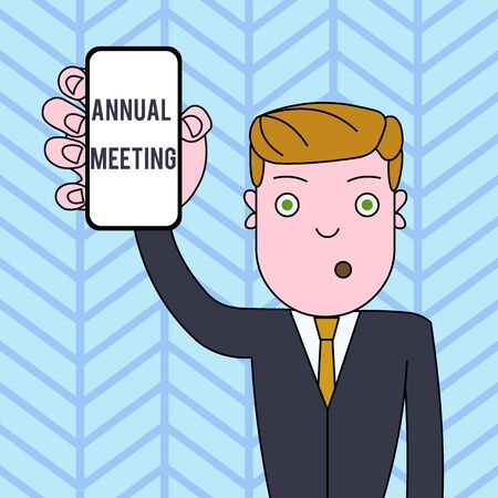 Conceptual hand writing showing Annual Meeting. Concept meaning Yearly gathering of an organization interested shareholders Man Holding Vertical Smartphone Device Screen for Attention