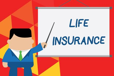 Conceptual hand writing showing Life Insurance. Concept meaning Payment of death benefit or injury Burial or medical claim Businessman standing in front projector pointing project idea